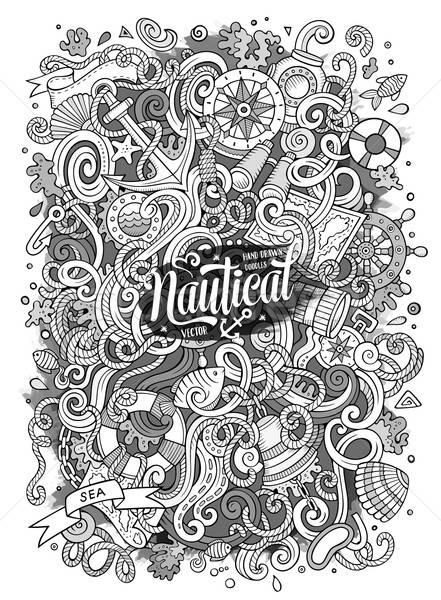 Rajz vektor tengerészeti firka illusztráció aranyos Stock fotó © balabolka
