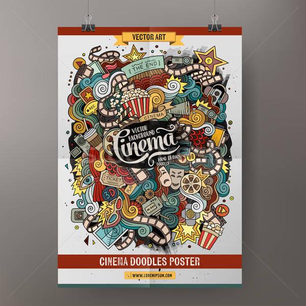 Desen animat cinema poster sablon colorat Imagine de stoc © balabolka