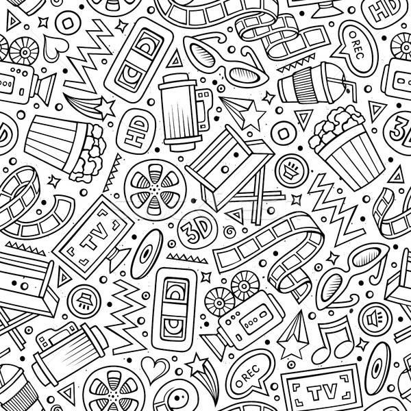 Cartoon cute hand drawn Cinema seamless pattern Stock photo © balabolka