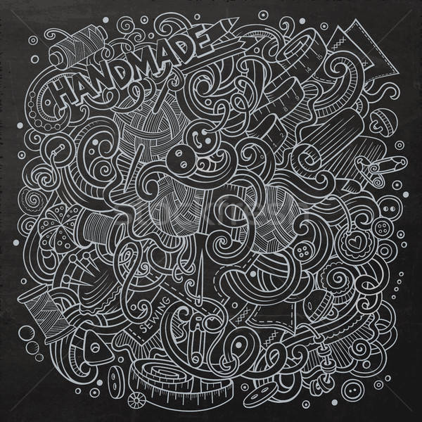 Cartoon cute garabatos dibujado a mano hecho a mano ilustración Foto stock © balabolka