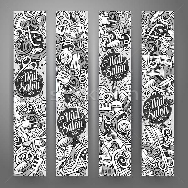 Rajz aranyos vektor firkák manikűrös bannerek Stock fotó © balabolka