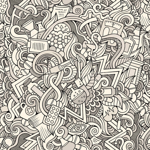 Stock photo: Cartoon cute doodles hand drawn Medical seamless pattern