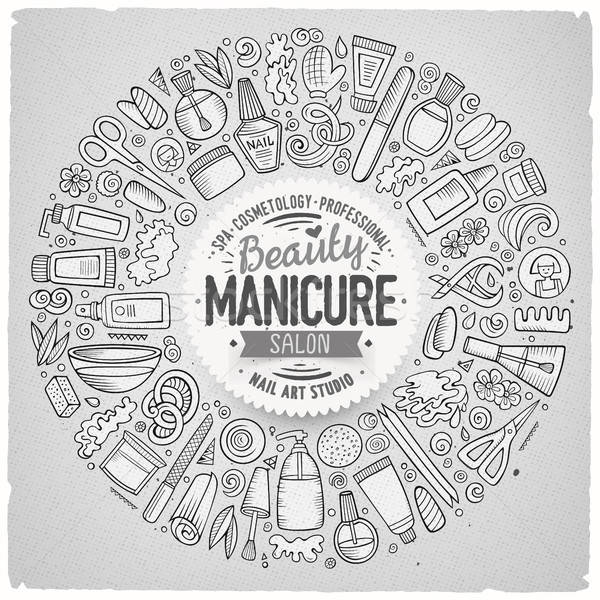 Stock photo: Vector set of Manicure cartoon doodle objects