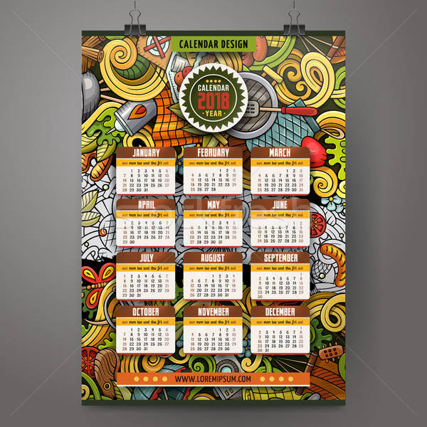 Cartoon colorful hand drawn doodles Picnic 2018 year calendar Stock photo © balabolka
