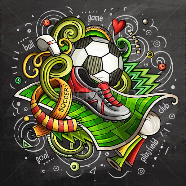 足球 漫畫 向量 塗鴉 插圖 黑板 商業照片 © balabolka