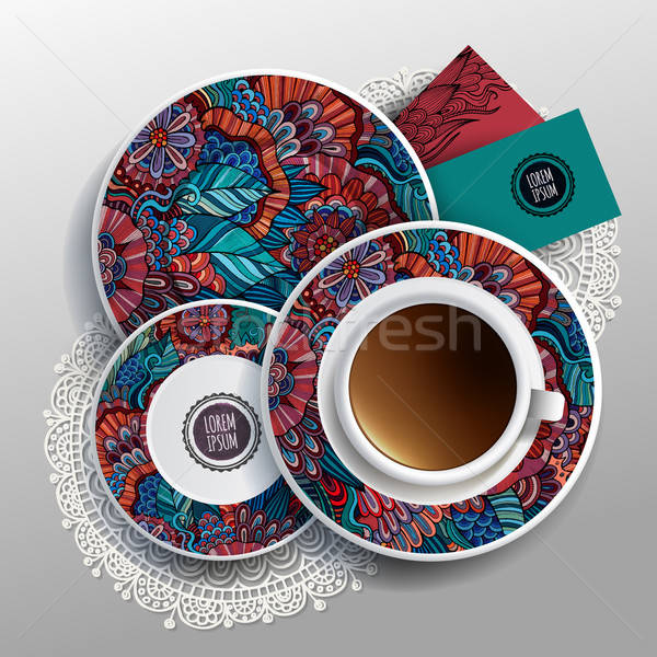plates and cup of coffee Stock photo © balabolka