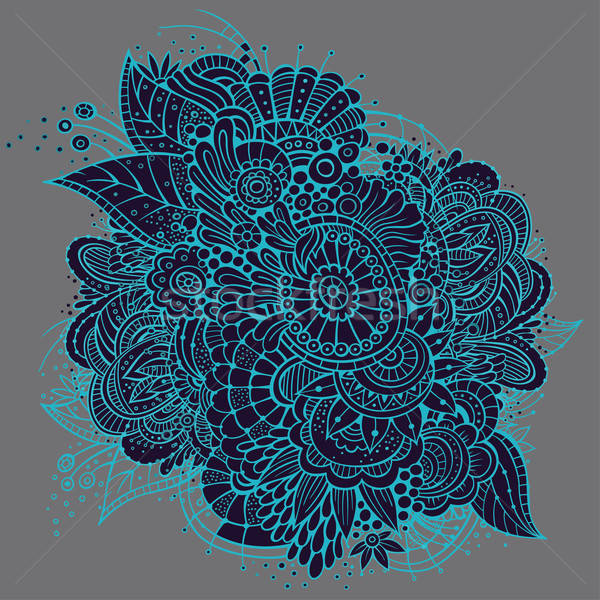 Ornate vector neon floral card design Stock photo © balabolka