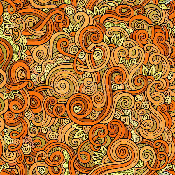 Decorative hand drawn doodle nature ornamental curl  seamless pattern Stock photo © balabolka