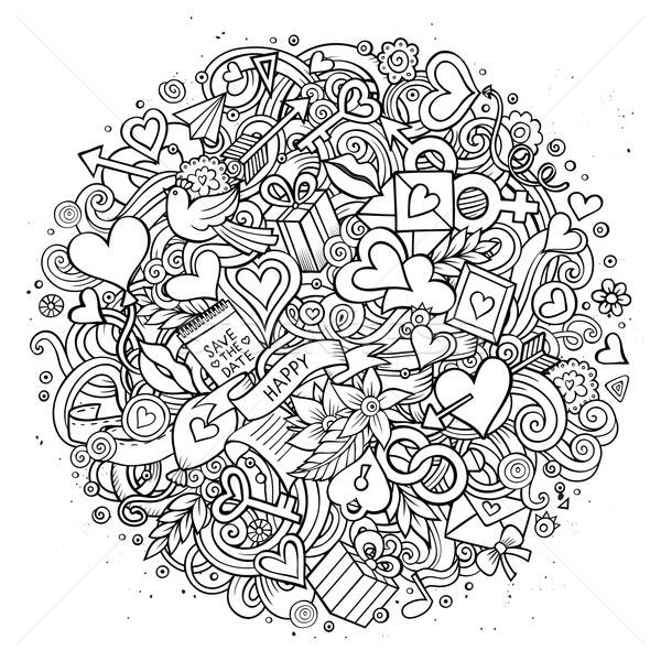 Foto d'archivio: Cartoon · vettore · doodle · amore · illustrazione