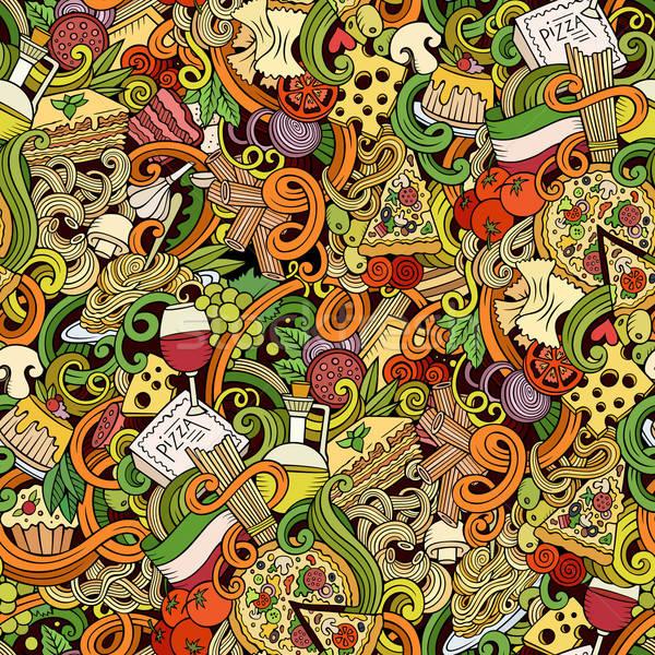 Cartoon doodles of italian cuisine seamless pattern Stock photo © balabolka