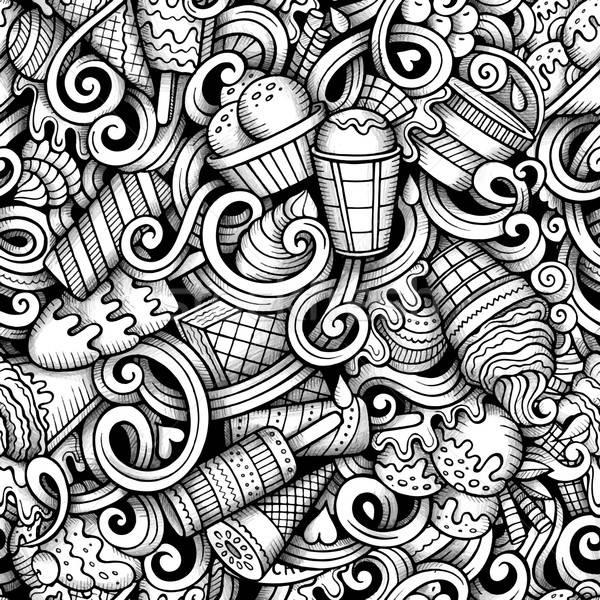 Photo stock: Cartoon · dessinés · à · la · main · crème · glacée · ligne