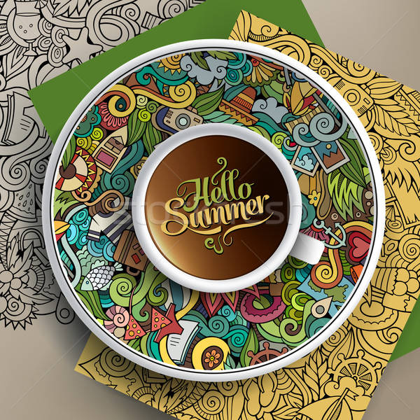Vector Cup of coffee summer doodle Stock photo © balabolka