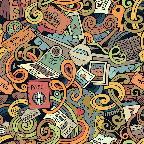 Cartoon doodles travel planning seamless pattern Stock photo © balabolka