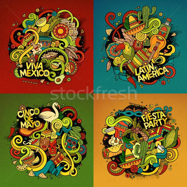 Latin amerika vektör karalama örnek amerikan Stok fotoğraf © balabolka