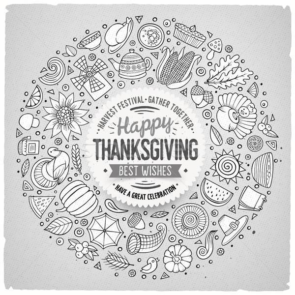 Set of Thanksgiving cartoon doodle objects, symbols and items Stock photo © balabolka