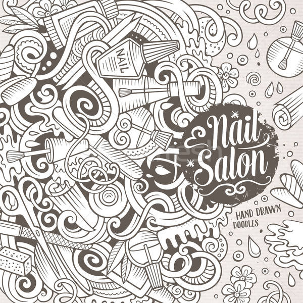Cartoon doodles Nail salon frame design Stock photo © balabolka