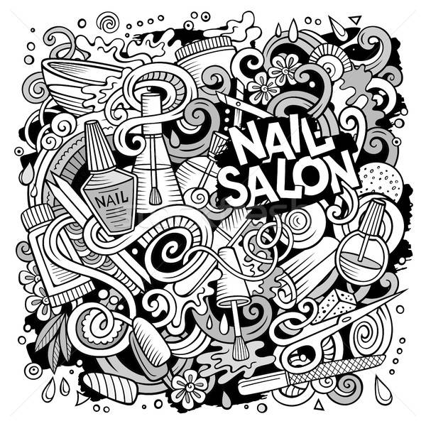 Cartoon doodles Nail salon illustration Stock photo © balabolka