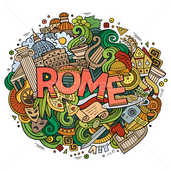 Cartoon cute doodles hand drawn Rome inscription Stock photo © balabolka