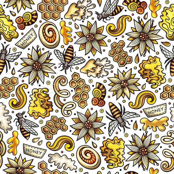Stock photo: Cartoon cute Honey seamless pattern