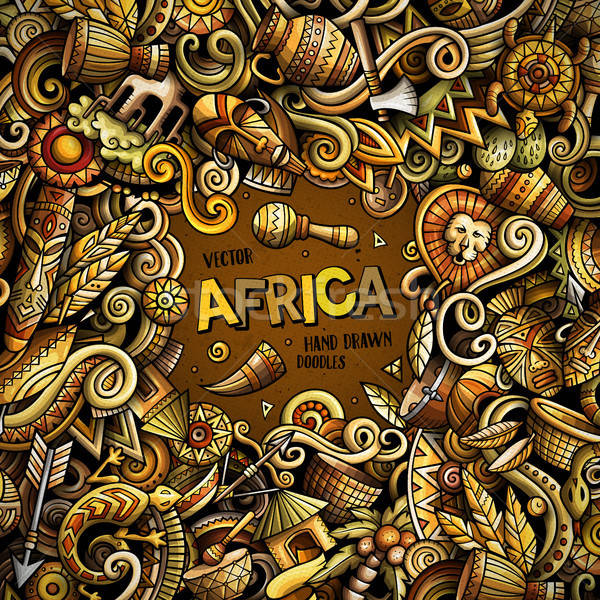 Cartoon vector doodles Africa frame Stock photo © balabolka
