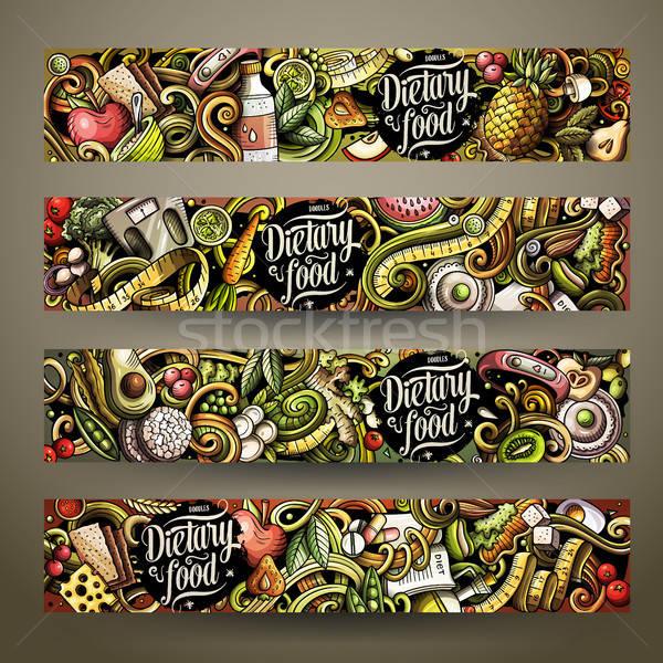 Cartoon cute colorful vector hand drawn doodles Diet food horizontal banners Stock photo © balabolka