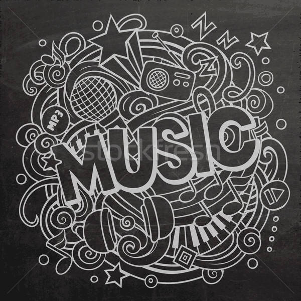 Cartoon cute doodles Music word Stock photo © balabolka