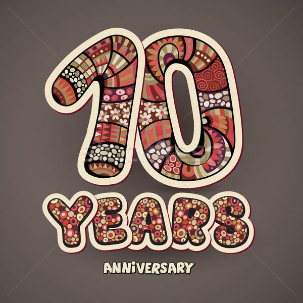 10 anni anniversario decorativo mano vettore carta Foto d'archivio © balabolka