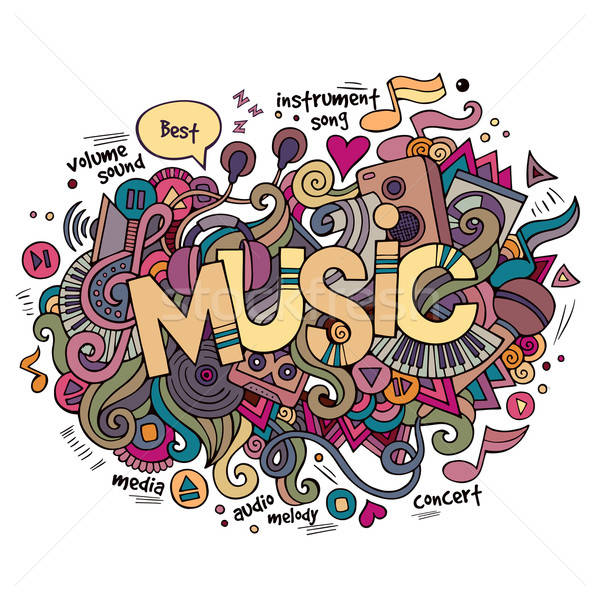 Music hand lettering and doodles elements background. Stock photo © balabolka
