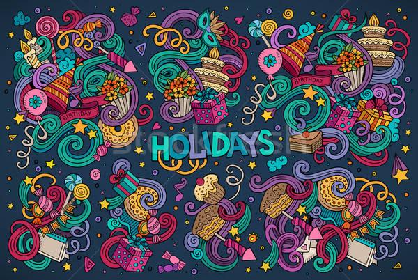 Foto d'archivio: Colorato · set · vacanze · oggetto · vettore