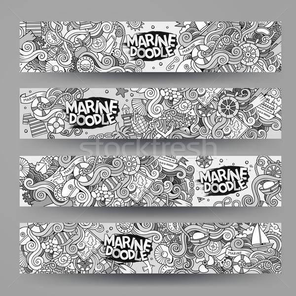 Cartoon marine, nautical doodle corporate identity Stock photo © balabolka