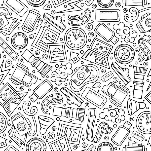 Cartoon cute hand drawn Photo seamless pattern Stock photo © balabolka