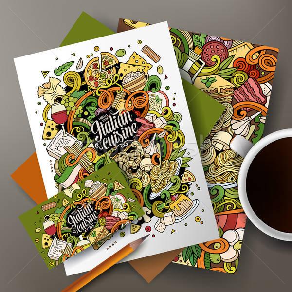 Karikatür karalamalar İtalyan gıda kurumsal kimlik sevimli Stok fotoğraf © balabolka