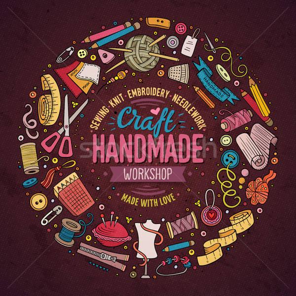 Szett kézzel készített rajz firka tárgyak szimbólumok Stock fotó © balabolka