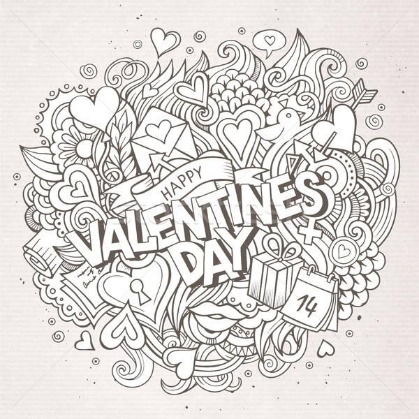 Stock fotó: Rajz · vektor · kézzel · rajzolt · firka · boldog · valentin · nap