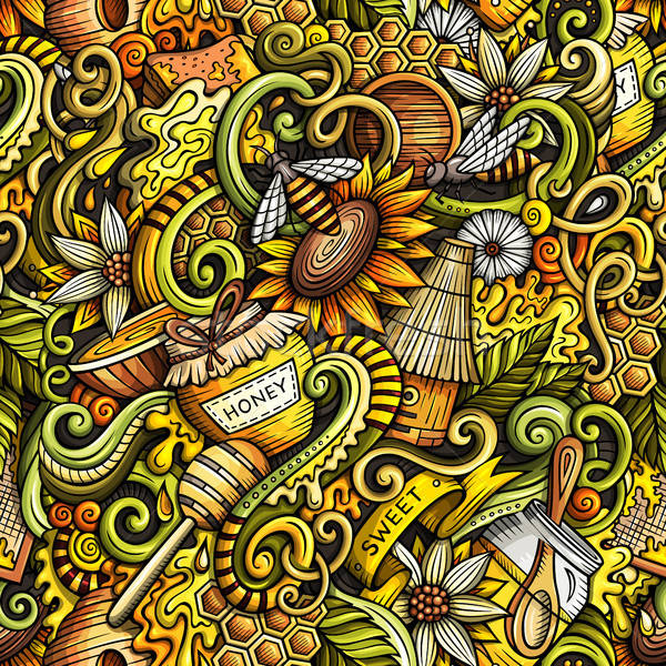 Stock fotó: Rajz · aranyos · firkák · kézzel · rajzolt · méz · végtelen · minta