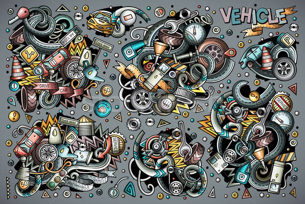 Vetor desenho animado conjunto objetos colorido Foto stock © balabolka
