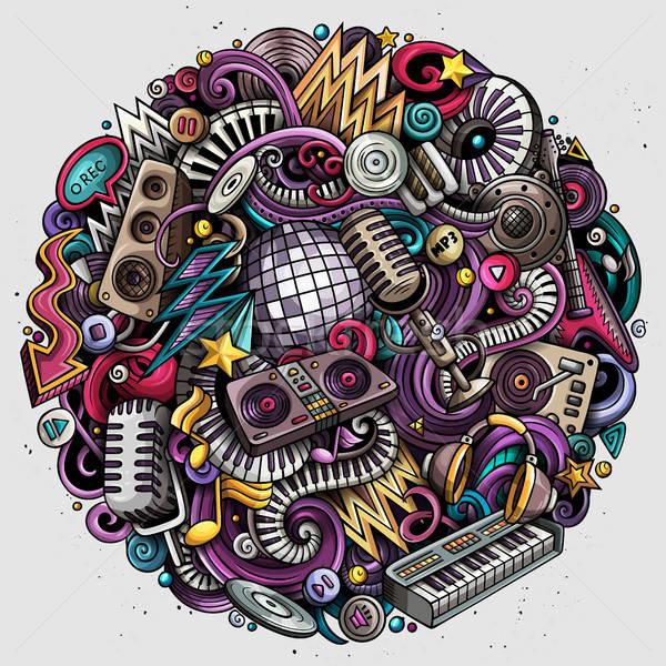 Stock photo: Cartoon vector doodles Disco music illustration