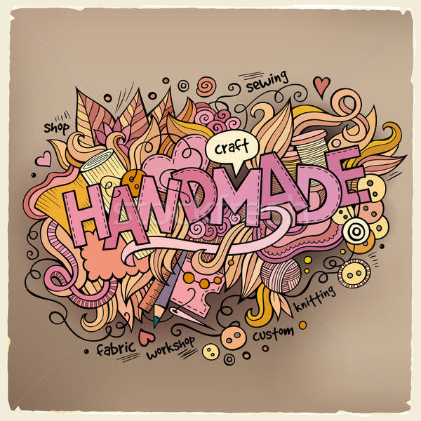 Handmade hand lettering and doodles elements background Stock photo © balabolka