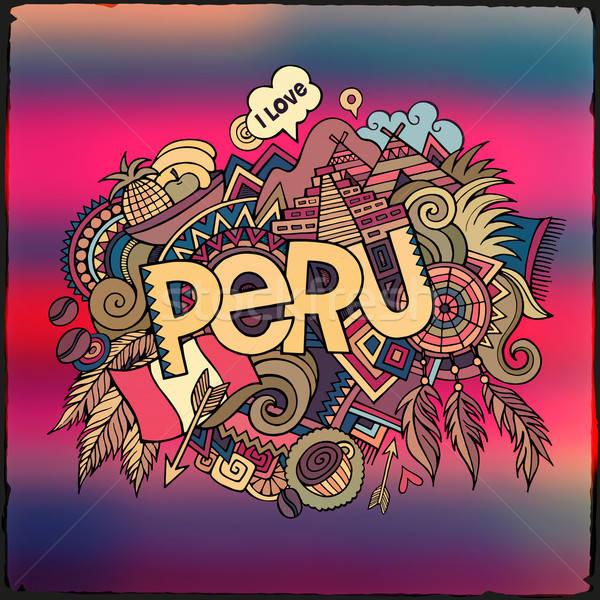 Perú mano garabatos elementos cielo resumen Foto stock © balabolka