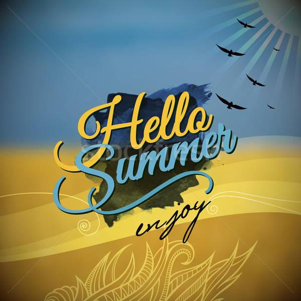Merhaba yaz vektör bulanık grafik mesaj Stok fotoğraf © balabolka