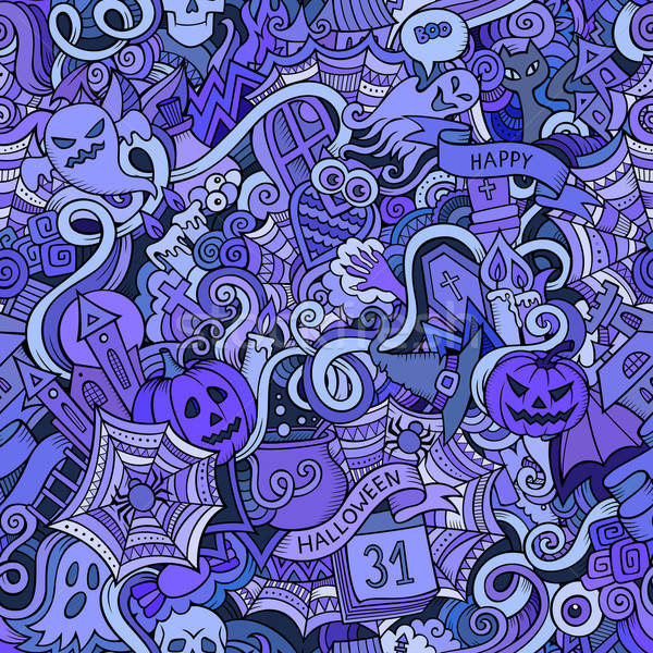 Cartoon vector hand-drawn Doodles on the subject of Halloween Stock photo © balabolka