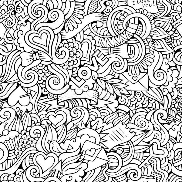 Stock photo: Doodles Love vector sketchy seamless pattern