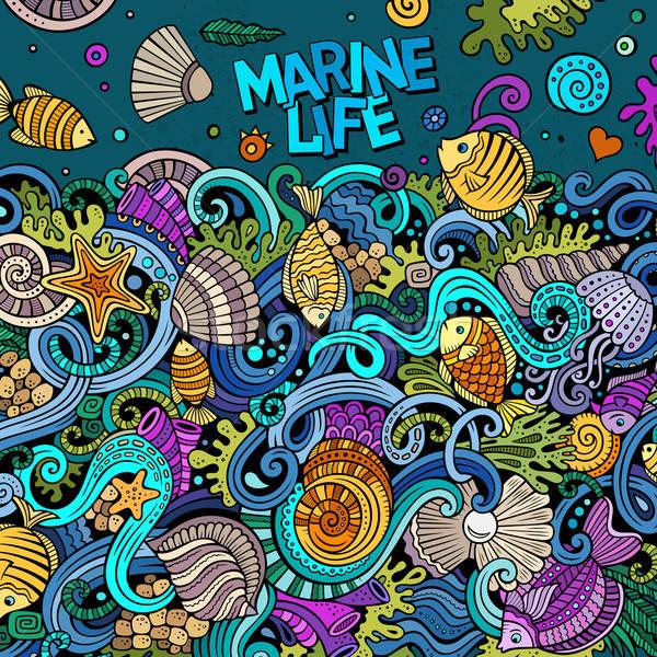 Rajz firkák vízalatti élet illusztráció színes Stock fotó © balabolka