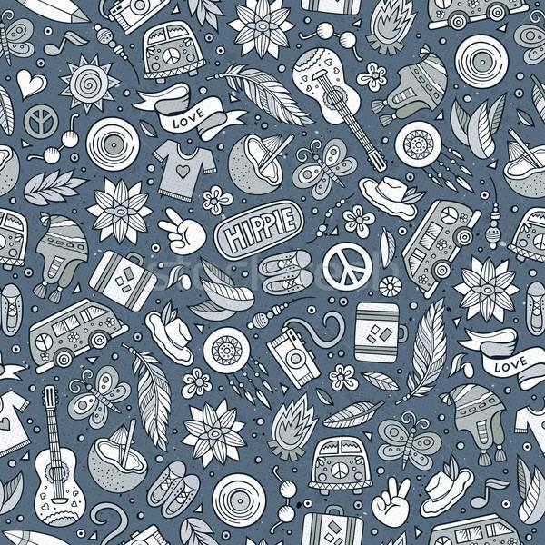 Cartoon hippie seamless pattern Stock photo © balabolka