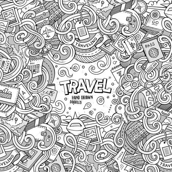 Rajz aranyos firkák utazás keret terv Stock fotó © balabolka