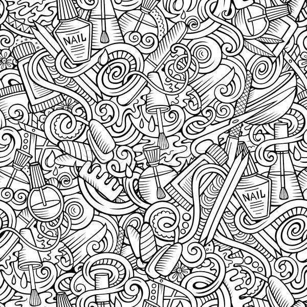 Karikatur Kritzeleien Maniküre cute Hand gezeichnet Stock foto © balabolka