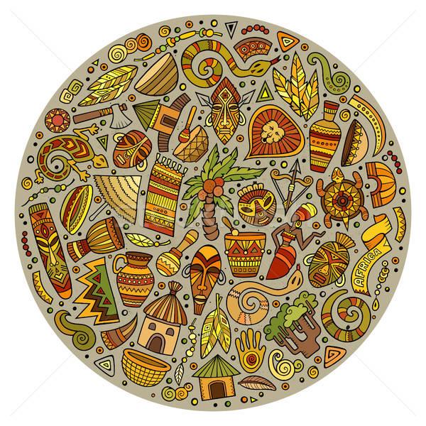 Colorido conjunto África desenho animado rabisco objetos Foto stock © balabolka