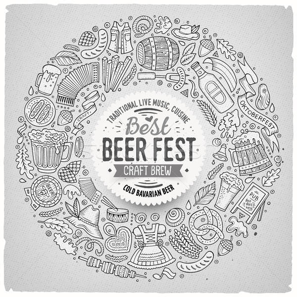 Set of Beer fest cartoon doodle objects round frame Stock photo © balabolka