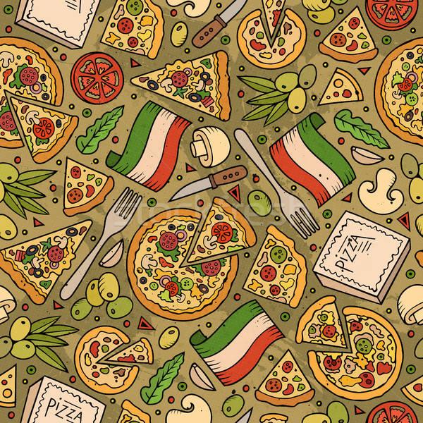 Cartoon cute cucina italiana colorato Foto d'archivio © balabolka