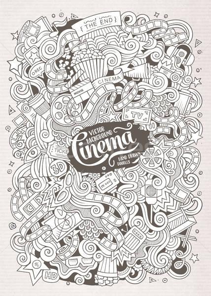 Cartoon doodles cinema illustration Stock photo © balabolka